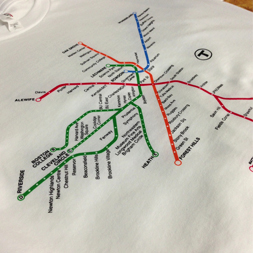 screen printed t-shirts for bostons mbta spider map