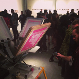 on site screen printing at getondowns beat boxbook launch at fourth wall project