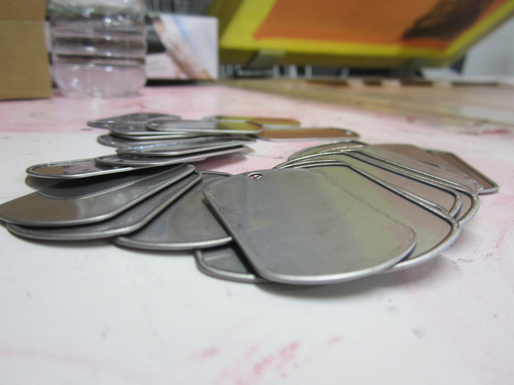 metal dog tags ready for printing