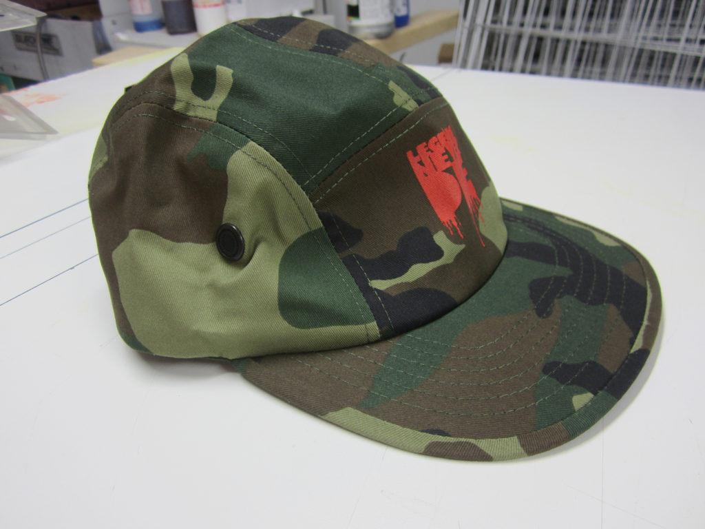 first screen printed 5-panel hat, looks good!
