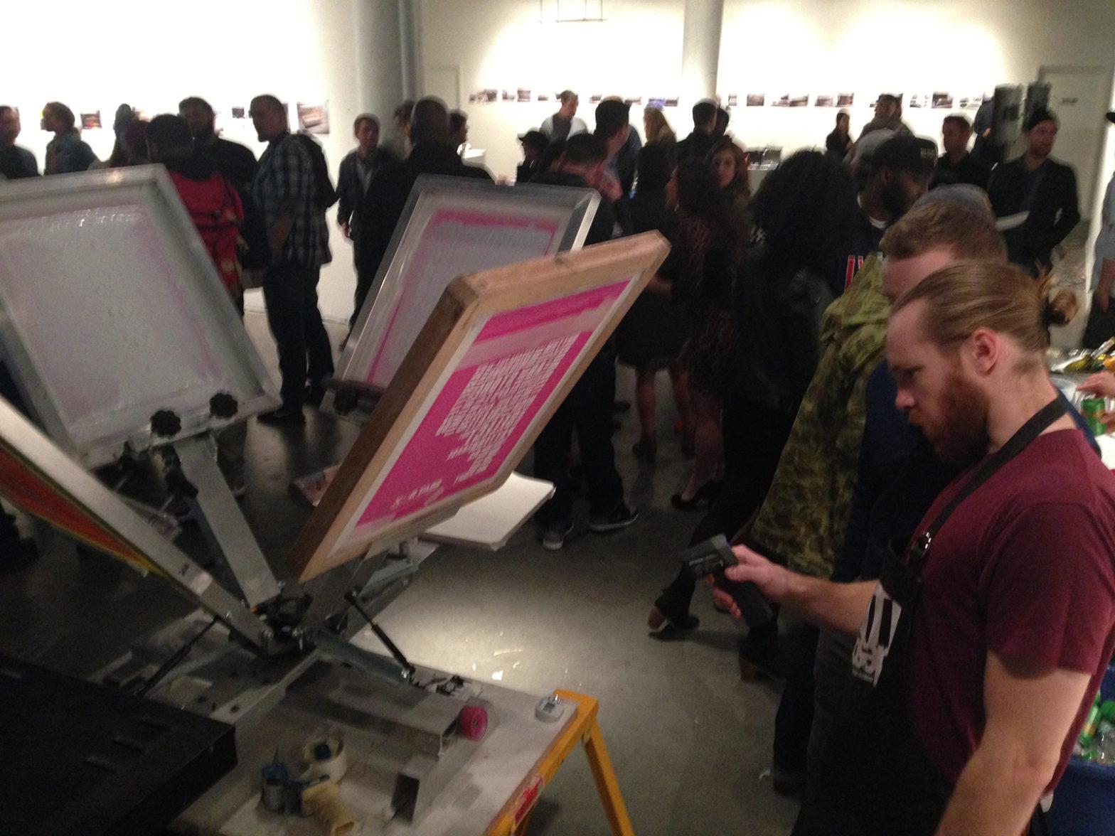 Live screen printing at Fourth Wall